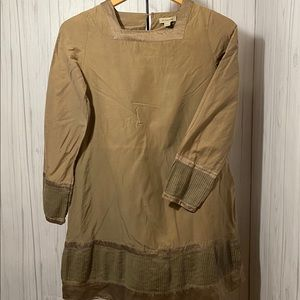 Burberry Kids Army Green Long Sleeve Dress 14Y